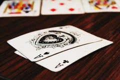 Schürhaken-Ace-Taschen-Glücksspiel stockfoto