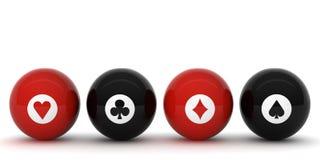 Schürhaken-Billiardkugel mit Symbolen Stockbilder