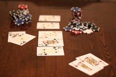 schürhaken Karten und Chips Stockfotos