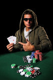 Schürhaken-Spieler mit vier Assen Lizenzfreies Stockbild