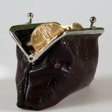 Schürzen Sie voll von den Silber- und Goldmünzen Stockbild