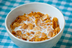 Schüssel Corn-Flakes und Milch zum Frühstück Lizenzfreie Stockfotografie