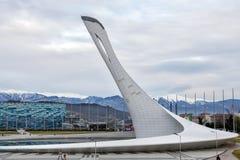 Schüssel der olympischen Flamme in Sochi Russland Stockfoto