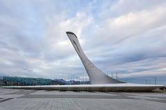 Schüssel der olympischen Flamme in Sochi Russland Lizenzfreie Stockbilder