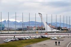 Schüssel der olympischen Flamme in Sochi Russland Lizenzfreie Stockfotos