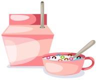 Schüssel des creal und Milchkastens Lizenzfreies Stockfoto
