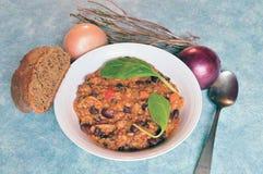 Schüssel des selbst gemachten Paprikas mit Zwiebel, Brot und Gewürzen Lizenzfreie Stockfotos