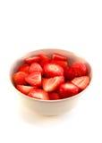 Schüssel Erdbeeren in der Nahaufnahme Stockfoto