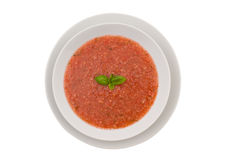 Schüssel gekühlte gazpacho Suppe Lizenzfreies Stockfoto