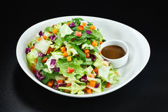 Schüssel Gemüse Salat und Soße Lizenzfreie Stockbilder