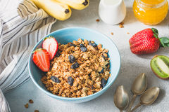 Schüssel Granola und Früchte zum gesundes Frühstück Lizenzfreies Stockbild