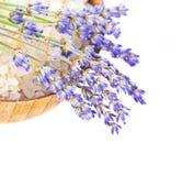 Schüssel mit den Salz- und Lavendelblumen getrennt stockbild