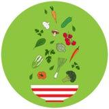 Schüssel mit Gemüse Flaches Design Hand gezeichnete vektorabbildung Lizenzfreie Stockfotografie