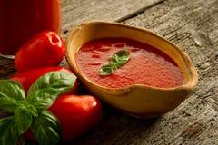 Schüssel mit Tomatensauce Stockbild