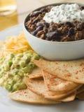 Schüssel Paprikas mit Tortilla-Chips Stockfotografie