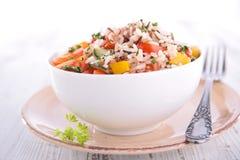 Schüssel Reis und Gemüse Lizenzfreie Stockfotos
