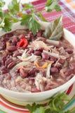 Schüssel rote Bohnensuppe mit Sauerkraut, Zwiebeln Lizenzfreie Stockfotos