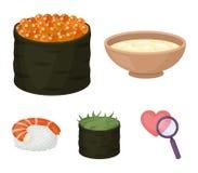 Schüssel Suppe, Kaviar, Garnele mit Reis Vector gesetzte Sammlungsikonen der Sushi in der Karikaturart Illustrationsnetz des Symb Lizenzfreies Stockfoto