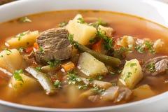 Schüssel Suppe mit Brot Lizenzfreies Stockbild