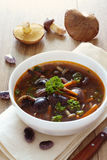 Schüssel Suppe mit Gartenbohnen und Pilzen Lizenzfreies Stockbild