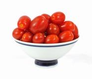 Schüssel-Trauben-Tomaten Stockfotografie