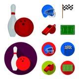 Schüssel und Bowlingspielstift für das Rollen, Schutzhelm für das Spielen des Baseballs, Checkbox, Referent, Pfeife für Trainer o Lizenzfreie Stockfotos