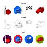 Schüssel und Bowlingspielstift für das Rollen, Schutzhelm für das Spielen des Baseballs, Checkbox, Referent, Pfeife für Trainer o Stockfotos