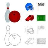 Schüssel und Bowlingspielstift für das Rollen, Schutzhelm für das Spielen des Baseballs, Checkbox, Referent, Pfeife für Trainer o Stockbild