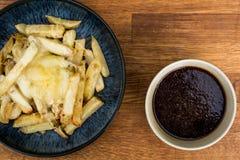 Schüssel von frischem käsigem Chips With Gravy lizenzfreies stockbild