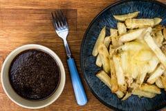 Schüssel von frischem käsigem Chips With Gravy Lizenzfreie Stockfotografie