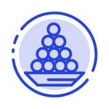 Schüssel, Zartheit, Nachtisch, Inder, Laddu, Bonbon, behandeln Linie Ikone der blauen punktierten Linie stock abbildung