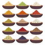 Schüsseln Getreide und Hülsenfrüchte stock abbildung