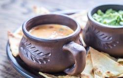 Schüsseln Guacamole und queso mit Tortilla-Chips Lizenzfreie Stockfotos