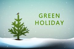 Schützen Sie die Baumidee, kleinen Weihnachtsbaum mit Meisevogel auf dem Spitzenwachsen in den Schneewehen und im Text Grünfeiert lizenzfreie abbildung