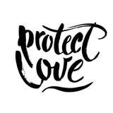 SCHÜTZEN SIE LIEBE Romatic-Slogan gegen Unterscheidung der Liebe, der gleichgeschlechtlichen Heirat und des LGBT Bürstenbeschrift stock abbildung