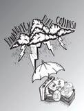 Schützende Einsparungen des Regenschirmes vom Schuldsturm Lizenzfreie Stockbilder