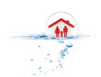 Schützende Familie des Schildes von der Flut Lizenzfreies Stockbild