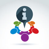 Schützende genossenschaftliche Informationsikone, Geschäftsteam mit Informationen Stockbild