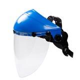 Schützende Gesichtsmaskeplastikarbeitskraft lokalisiert auf weißem backgr Stockfotos