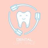 Schützende Karikaturillustration des Zahnes und der Zahnbürste Vektor Abbildung