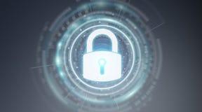 Schützende Wiedergabe der Daten 3D der Vorhängeschlosssicherheitsschnittstelle Stockfoto