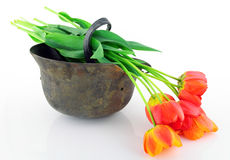 Schützender Sturzhelm und Blumen lizenzfreie stockfotos