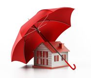Schützendes Hausmodell des roten Regenschirmes Abbildung 3D Stockfoto