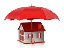 Schützendes Hausmodell des roten Regenschirmes Abbildung 3D Stockbild