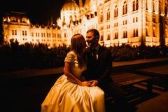 Sch?ne Braut und Br?utigam, die drau?en an ihrem Hochzeitstag umfasst und k?sst lizenzfreie stockbilder