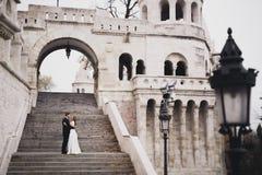Sch?ne Hochzeitspaare, herrliches Treppenh?ndchenhalten und -blicke oben miteinander kletternd lizenzfreie stockfotografie