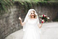 Sch?ne junge Luxusbraut im Hochzeitskleid, das im Park aufwirft stockbild