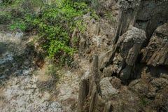 Sch?ne Landschaft von Wasserstr?men durch den Boden haben Abnutzung und Einsturz des Bodens in eine nat?rliche Schicht bei Pong Y lizenzfreie stockfotos