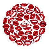 Sch?ne rote Lippen der Lippenvektormuster-Karikatur im sexy Mundk?ssen des Kuss- oder L?chelnmodelippenstifts reizend auf Valenti lizenzfreie abbildung
