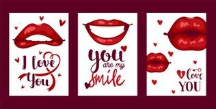 Sch?ne rote Lippen der Lippenvektormuster-Karikatur im sexy Mundk?ssen des Kuss- oder L?chelnmodelippenstifts reizend auf Valenti vektor abbildung